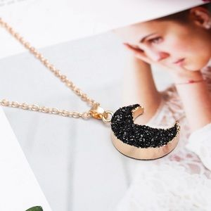 Crescent Moon Druzy Pendant Necklace